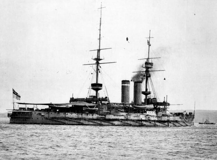 HMS Cornwallis: a pre-Dreadnought battleship part of the British fleet that bombarded the Turkish defences in the Dardanelles and supported the land forces on the Gallipoli Peninsular during 1915