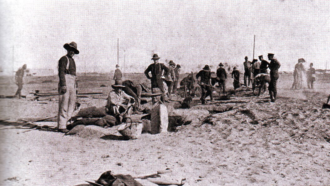 New Zealand troops digging trenches in Egypt before leaving for the Gallipoli landings