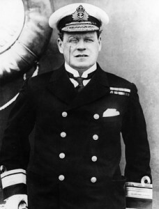 Rear Admiral Rosslyn Wemyss in command of the Royal Navy ships supporting the British landings at Cape Helles Gallipoli on 25th April 1915