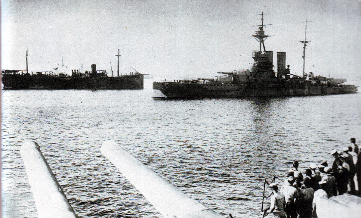 HMS Queen Elizabeth, the British flag ship, leaving Mudros on the Greek Island of Lemnos for the Gallipoli landings on 24th April 1915