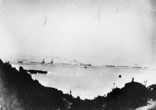 Transports off Anzac Gallipoli under bombardment from Turkish guns on Ari Burnu on 25th April 1915