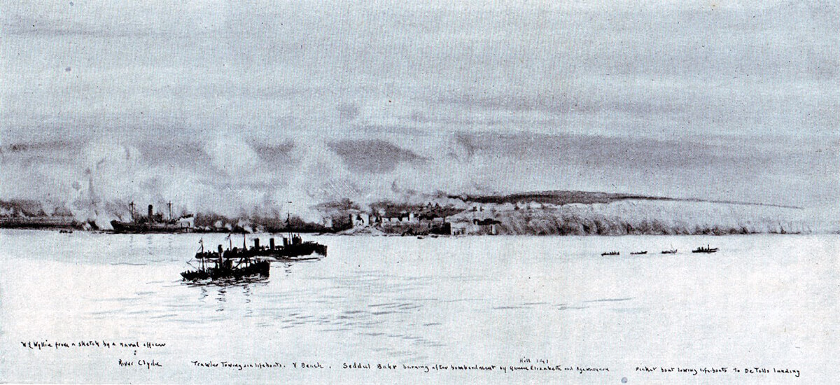 Sedd el Bahr burning after being bombarded by HMS Queen Elizabeth and Agamemnon