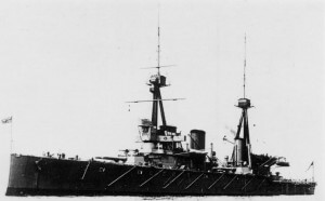 HMS Inflexible:  British battlecruiser that bombarded the Turkish defences in the Dardanelles and took part in the attack on the Narrows on 18th March 1915, striking a Turkish mine. Inflexible was one of Admiral Sturdee's two battle cruisers in the Battle of the Falkland Islands on 8th December 1914