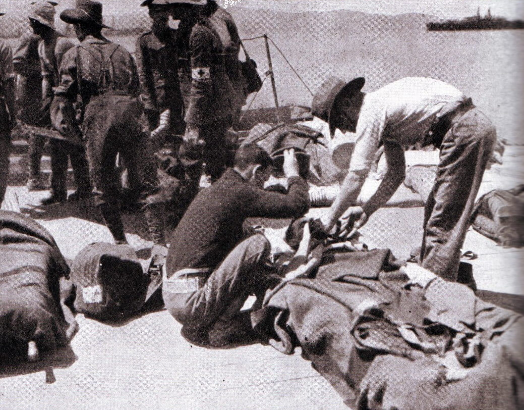 Australian wounded from Gallipoli on ship at the Greek Island of Lemnos 1915