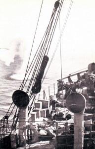 SS Clacton Anzac landing ship under shrapnel fire just after three Australians were killed