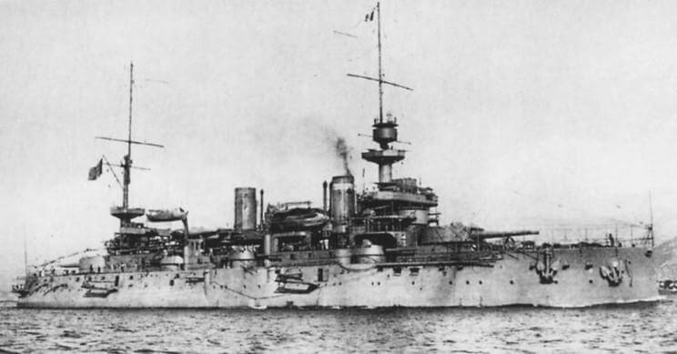 French Battleship Suffren:  Suffren formed part of the first line in the attack on the Dardanelles Narrows on 18th March 1915 and was badly damaged by Turkish gunfire