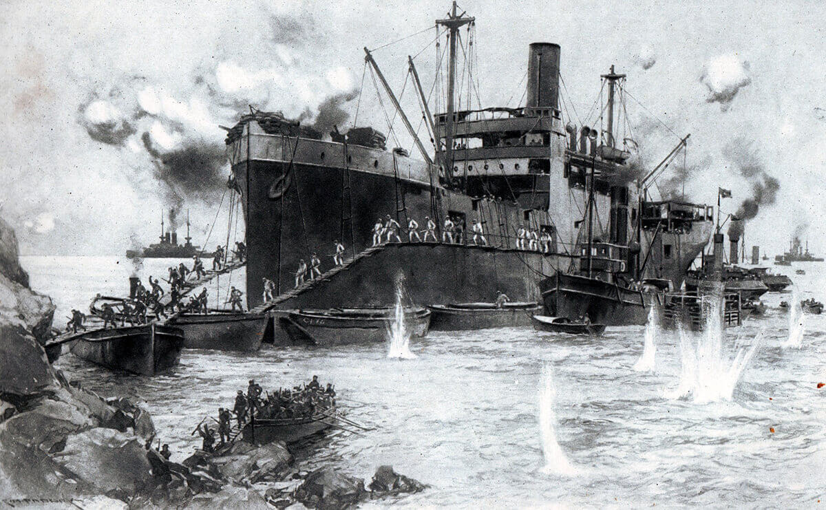 The River Clyde on 25th April 1915 during the first landings on V Beach Cape Helles Gallipoli