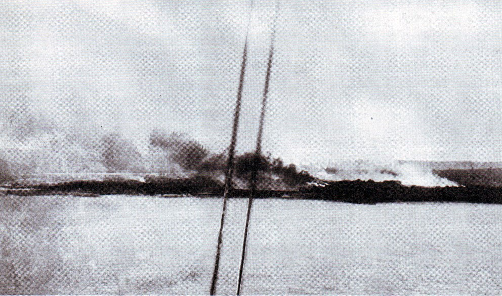 Kum Kale 4th March 1915 burning after the bombardment by British and French ships