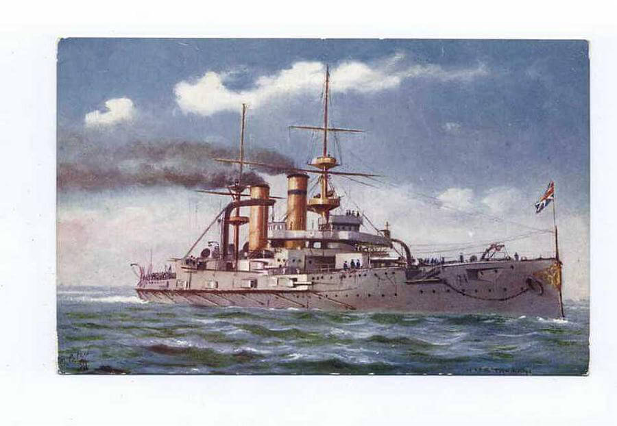 HMS Triumph: British pre-Dreadnought battleship that took part in the attack on the Dardanelles in March 1915.  Triumph was mobilised in Hong Kong on the outbreak of war and was partly crewed by 100 soldiers until the naval crew could be completed