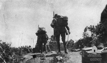Anzacs moving inland from the landing on 25th April 1915