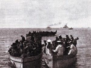 Royal Marine detachment landing at Kum Kale on 4th March 1915