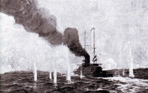HMS Vengeance: British pre-Dreadnought battleship in action in the Dardanelles in March 1915