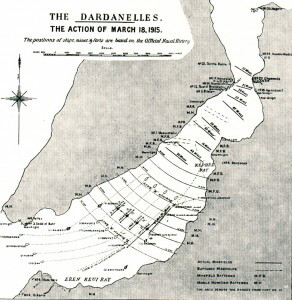 Plan of the attack by the British and French capital ships on the Dardanelles Narrows on 18th March 1915 leading to the loss of three ships and the damaging of two more