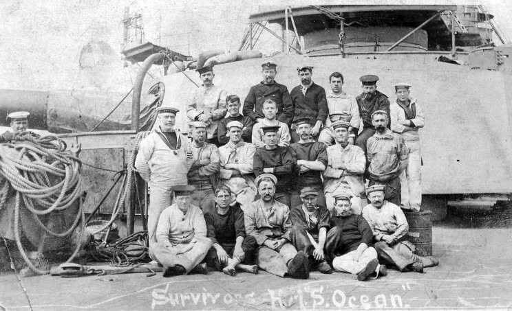 Survivors from HMS Ocean sunk by a Turkish mine in the Dardanelles Narrows on 18th March 1915