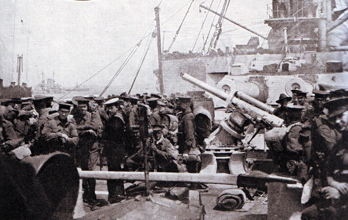 Australian troops on board a Royal Navy warship waiting to land at Anzac Cove on the Gallipoli Peninsular, 25th April 1915