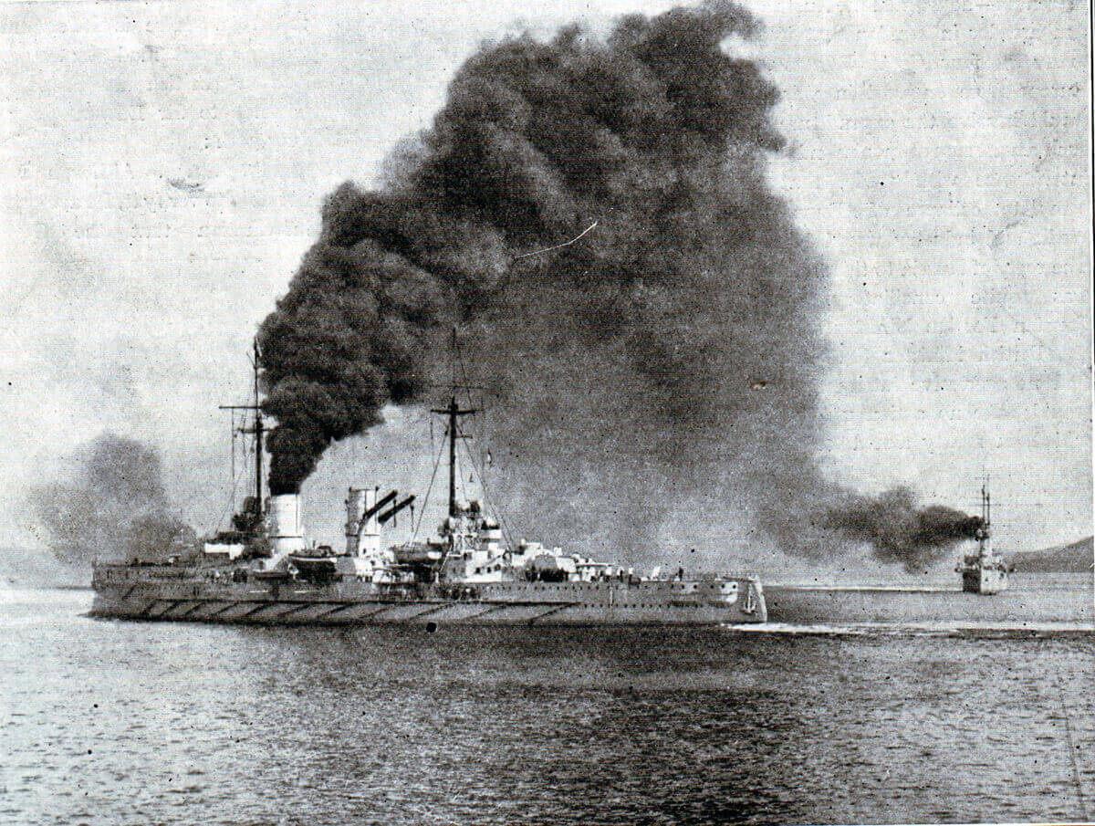 SMS Goeben: German heavy cruiser whose escape with SMS Breslau to Constantinople in 1914 and incorporation into the Turkish navy helped push the Ottoman Empire into the  camp of the Central Powers, Germany and Austria