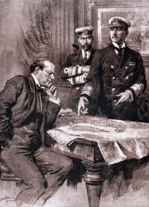 Winston Churchill as First Lord of the Admiralty in 1914, with Admirals Jellicoe & Madden.  Churchill was a prime architect of the Dardanelles naval campaign