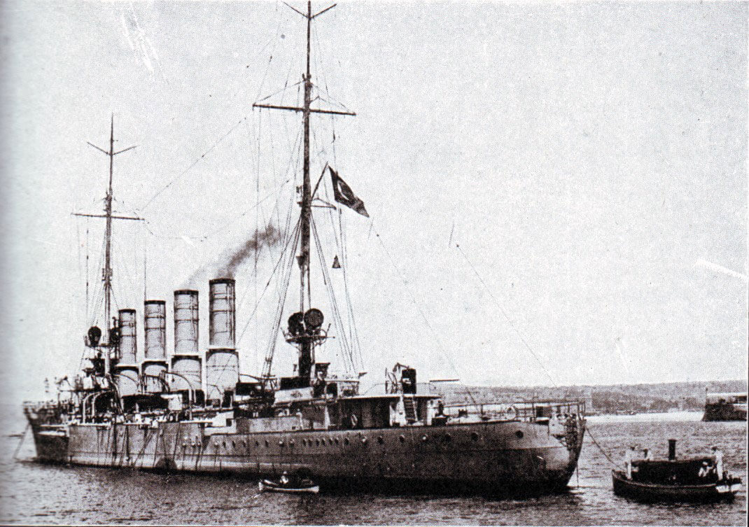 SMS Breslau: German light cruiser whose escape with SMS Goeben to Constantinople in 1914 and incorporation into the Turkish navy helped push the Ottoman Empire into the  camp of the Central Powers, Germany and Austria.  Breslau flies the Turkish flag