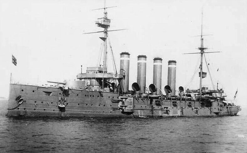 British cruiser HMS Euryalus the warship carrying troops of 2nd Lancashire Fusiliers to W Beach Cape Helles Gallipoli 25th April 1915