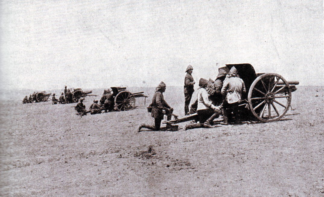 Turkish field guns in the desert