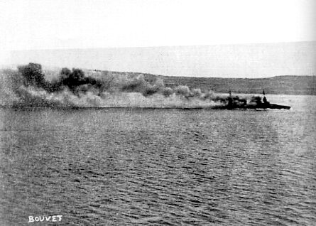 French battleship Bouvet sinking with considerable loss of life after striking a Turkish mine in the Dardanelles Narrows on 18th March 1915