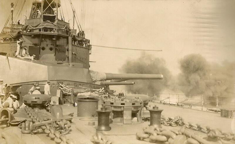 British battleship  HMS Agamemnon bombarding the Dardanelles Straits March 1915