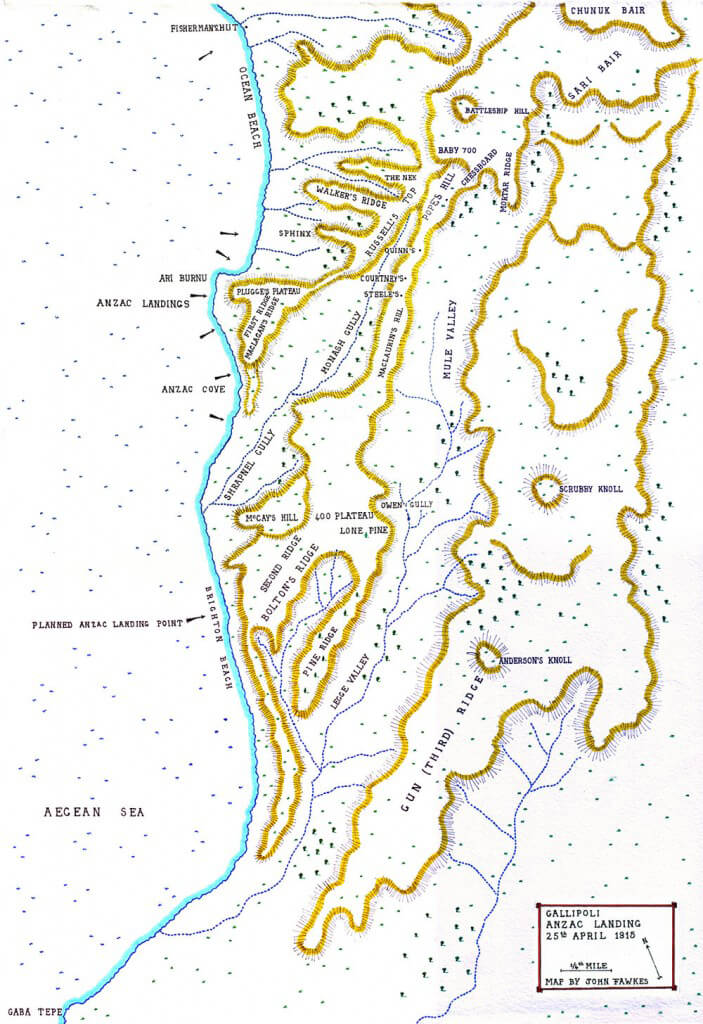 Map of the Anzac landing on Gallipoli 25th April 1915: map by John Fawkes