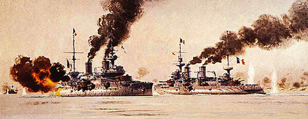 French battleships in the Dardanelles Narrows on 18th March 1915 Bouvet, sinking after striking a mine, and Suffren, under heavy Turkish shell fire