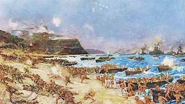 Australian and New Zealand troops landing at Anzac Cove Gallipoli on 25th April 1915: picture by Charles Edward Dixon