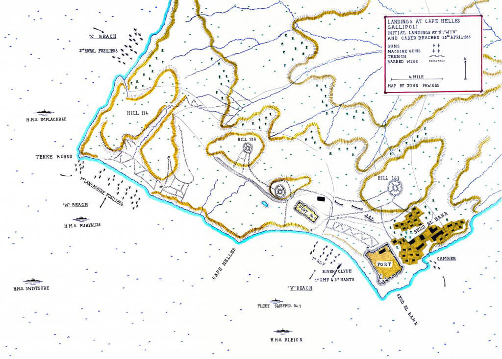 Map of the initial Anzac landings on 25th April 1915