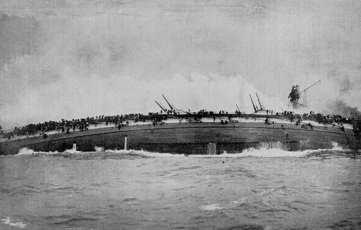 The German armoured cruiser SMS Blucher capsized and sinking in the Dogger Bank Action on 24th January 1915