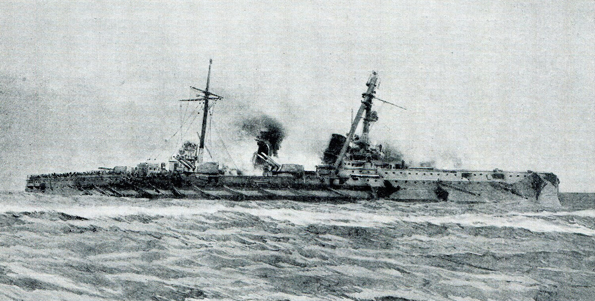 The German armoured cruiser SMS Blucher sinking in the Dogger Bank Action on 24th January 1915