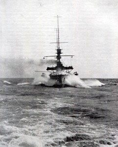 A British battleship in the North Sea in 1914 in the First World War