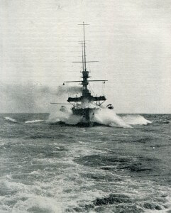 A British battleship in the North Sea in 1914
