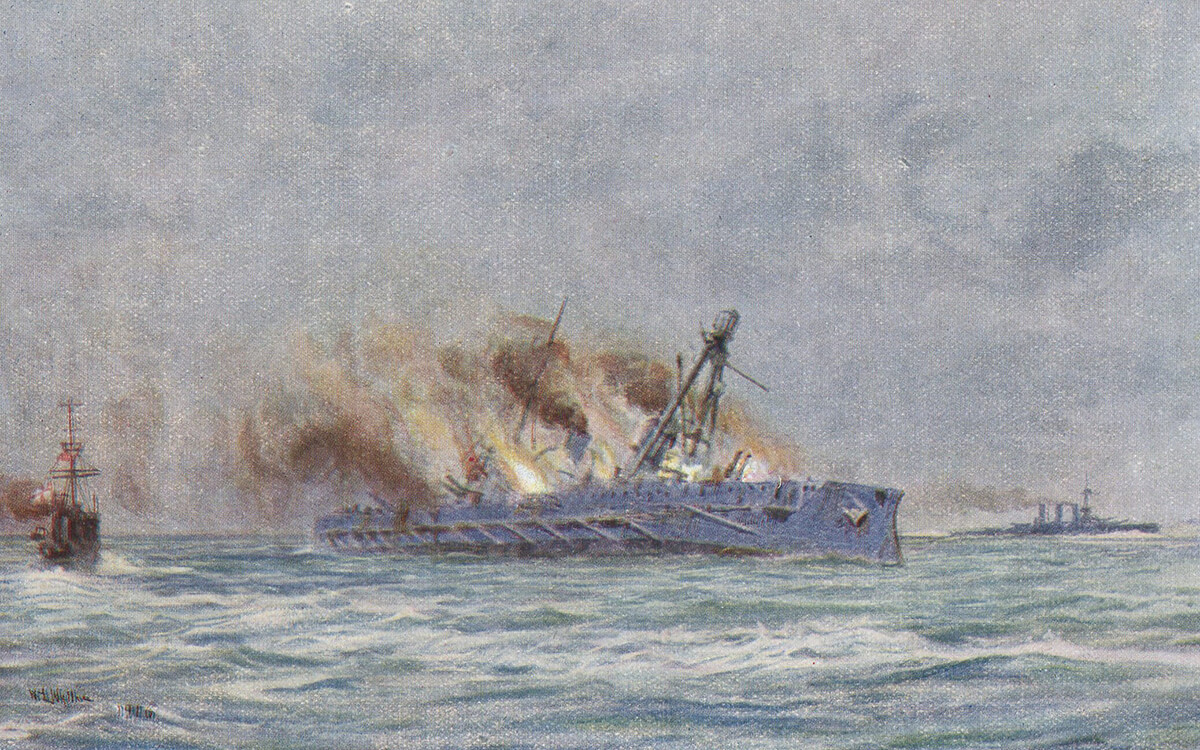 The end of the German armoured cruiser SMS Blucher sinking in the Dogger Bank Action on 24th January 1915: picture by Lionel Wyllie
