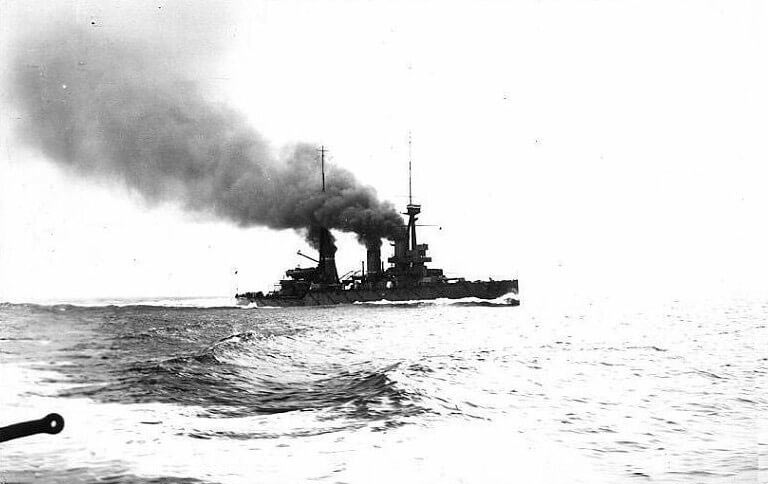British battle cruiser HMS Indomitable one of the ships in Admiral Beatty's force at the Battle of Dogger Bank on 24th January 1915 in the First World War