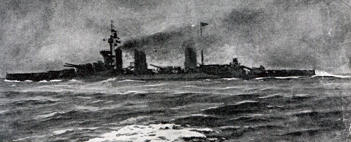 Admiral Beatty's flag ship HMS Lion going into action at the Battle of Dogger Bank on 24th January 1915 in the First World War