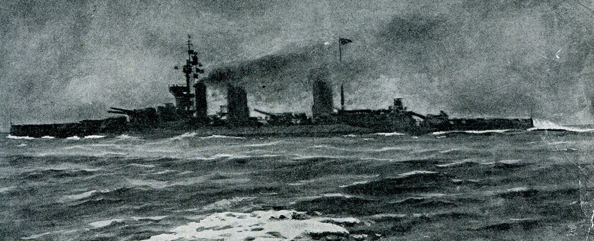 Admiral Beatty's flag ship HMS Lion going into action at the Dogger Bank Action on 24th January 1915