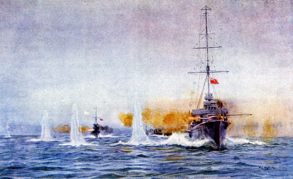 British light cruiser HMS Aurora begins the Dogger Bank Action at 7.15am on 24th January 1915 opening fire on the German light cruiser SMS Kolberg: picture by Lionel Wyllie