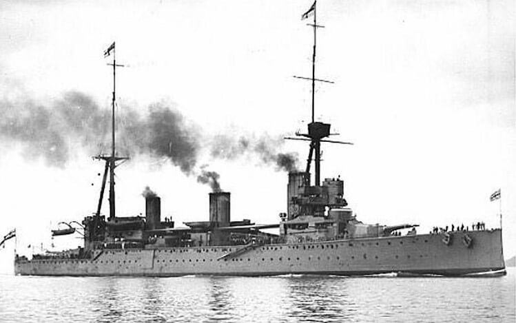 HMS New Zealand one of Admiral Beatty's battle cruisers and Admiral Moore's flagship at the Battle of Dogger Bank on 24th January 1915 in the First World War