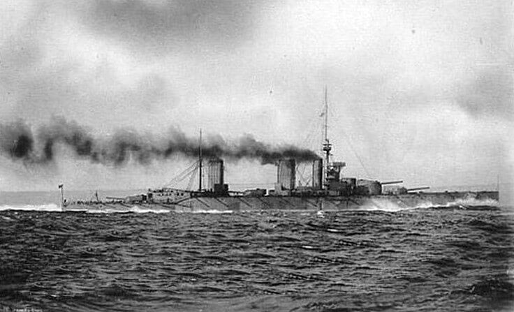 HMS Princess Royal one of Admiral Beatty's battle cruisers at the Battle of Dogger Bank on 24th January 1915 in the First World War
