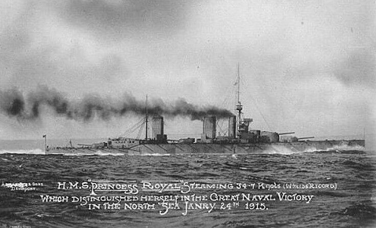 HMS Princess Royal one of Admiral Beatty's battle cruisers at the Dogger Bank Action on 24th January 1915