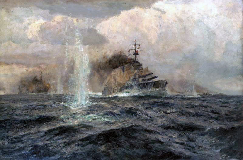 Admiral Beatty's flagship HMS Lion at the Battle of Dogger Bank on 24th January 1915 in the First World War: picture by Arthur Burgess