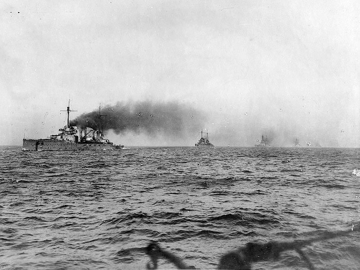 German battle cruisers: SMS Seydlitz leads SMS Moltke, Hindenburg, Derfflinger and Von der Tann into Scapa Flow on the German surrender in 1918. Of these ships Seydlitz, Moltke and Derfflinger fought at the Dogger Bank Action on 24th January 1915