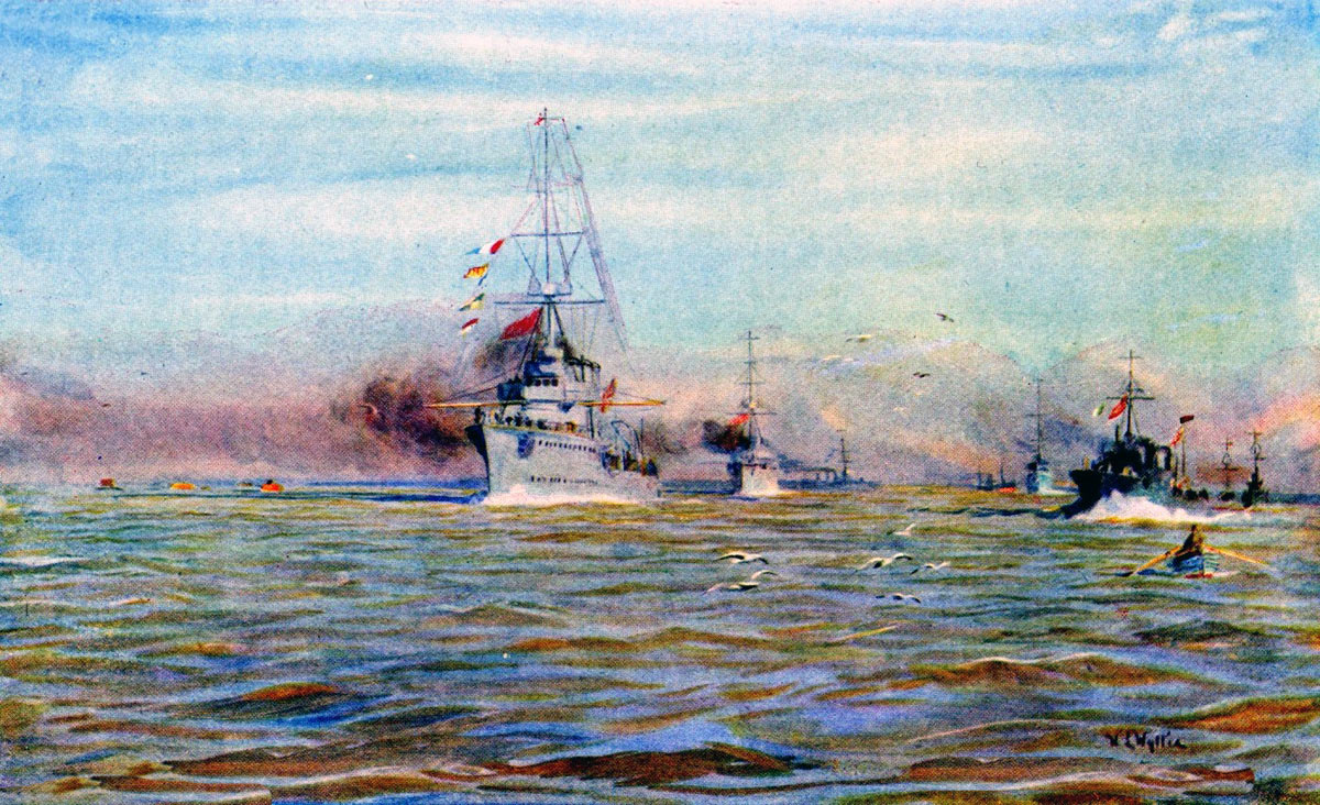 British Light Cruisers and Destroyers putting to sea from Harwich on 24th January 1915 for the Battle of Dogger Bank in the First World War: picture by Lionel Wyllie in the First World War