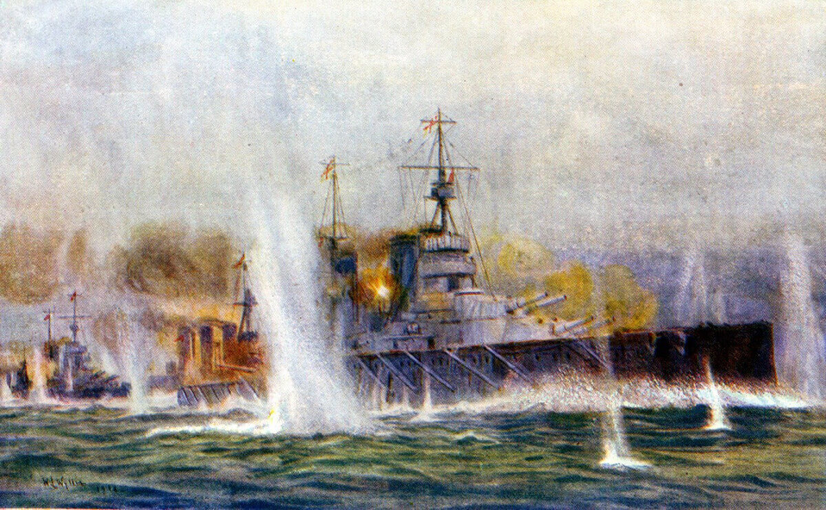 British battle cruisers HMS Lion, Tiger (known as 'the big cats') and Princess Royal in chase of the German squadron of Admiral Hipper on 24th January 1915 in the Dogger Bank Action: picture by Lionel Wyllie