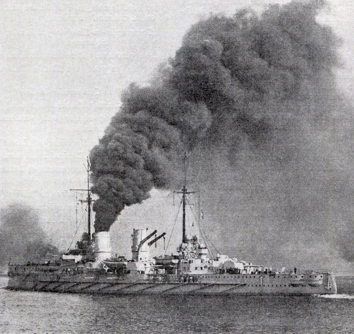 German armoured cruiser SMS Blucher sunk in the Battle of Dogger Bank on 24th January 1915 in the First World War