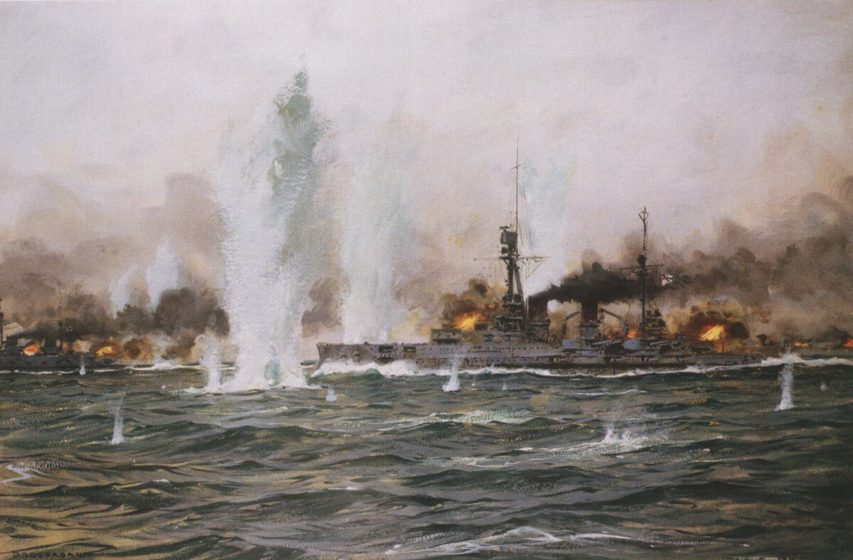 German armoured cruiser SMS Blucher in action at the Dogger Bank on 24th January 1915: picture by Claus Bergen