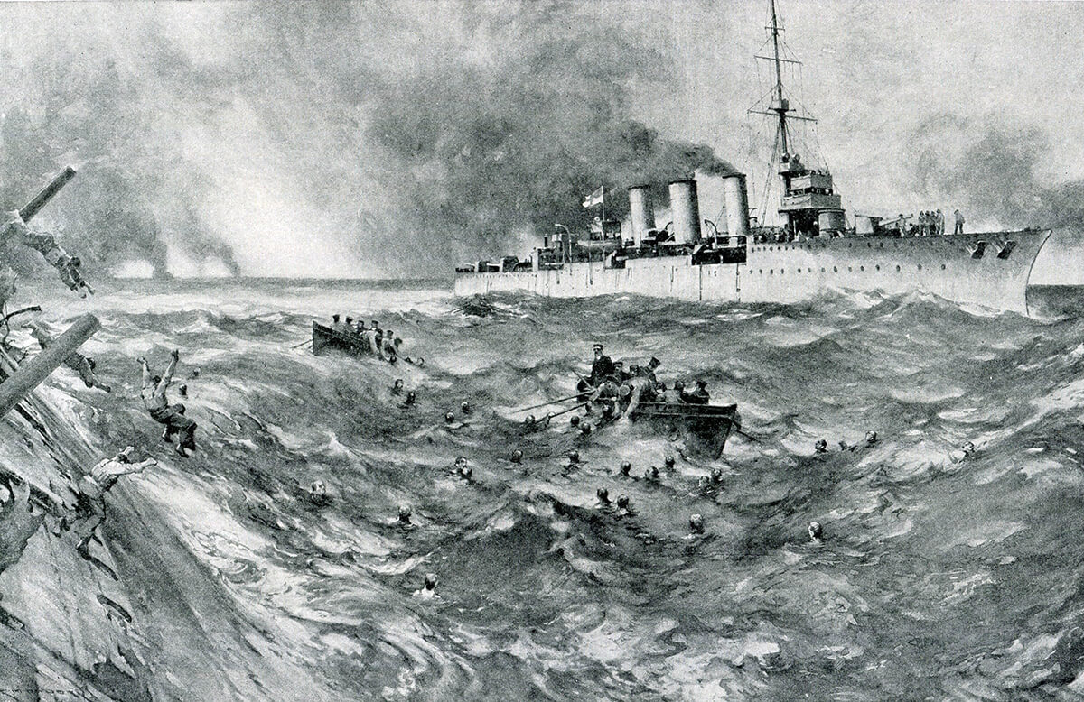 Boats from the British light cruiser HMS Arethusa rescuing surviving crew members of the sinking German armoured cruiser SMS Blucher in the Dogger Bank Action on 24th January 1915