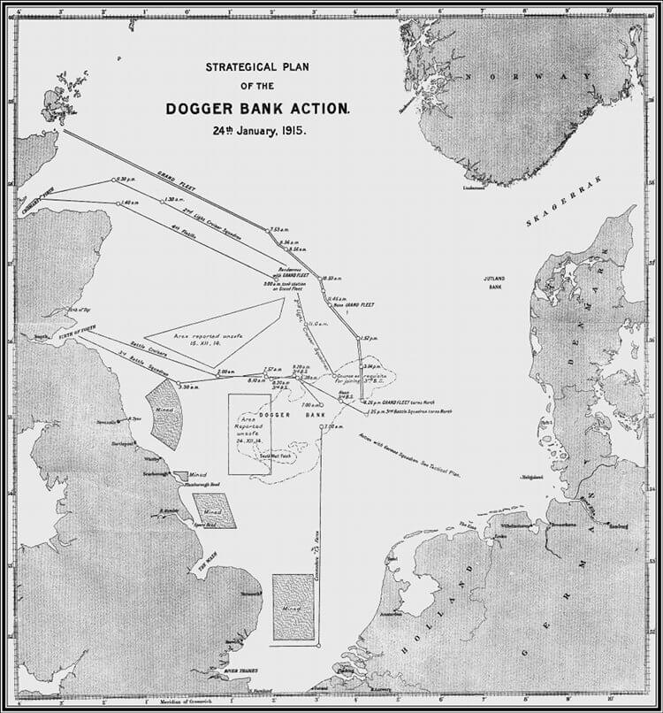 Map of the North Sea showing the Action north of the Dogger Bank on 24th January 1915